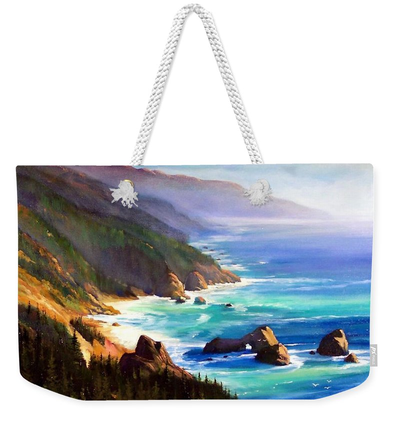 Seascape Weekender Tote Bag featuring the painting Shore Trail by Frank Wilson