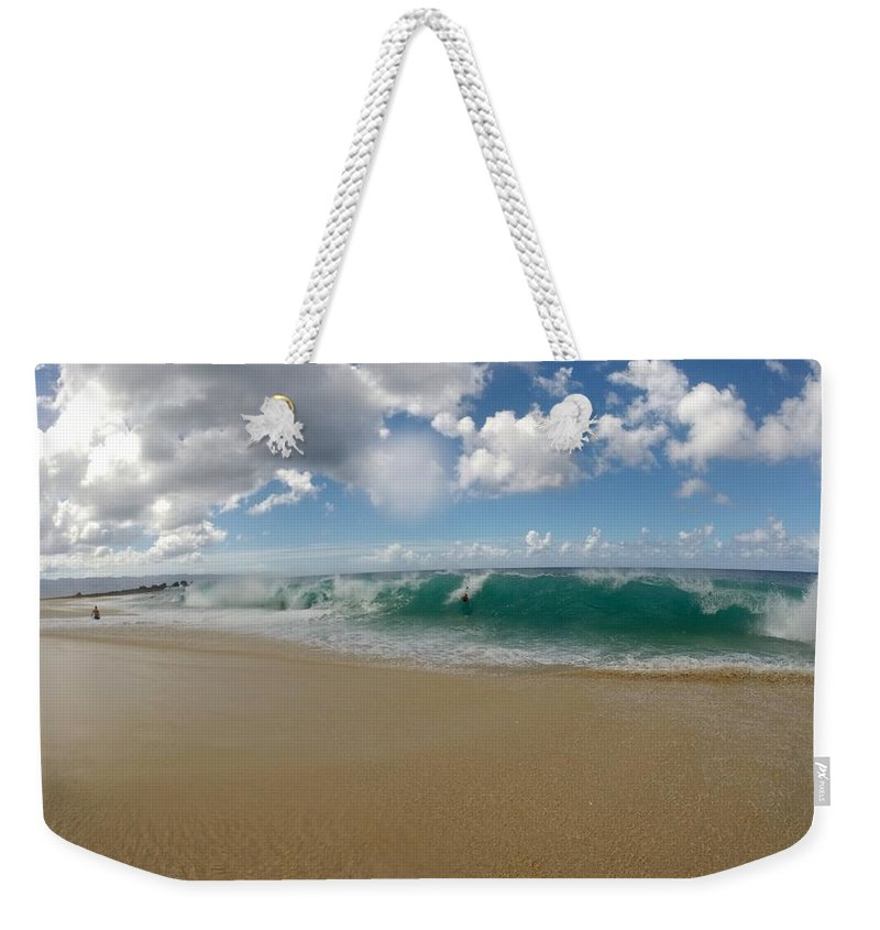 Wave Weekender Tote Bag featuring the photograph Shorepound by Benen Weir