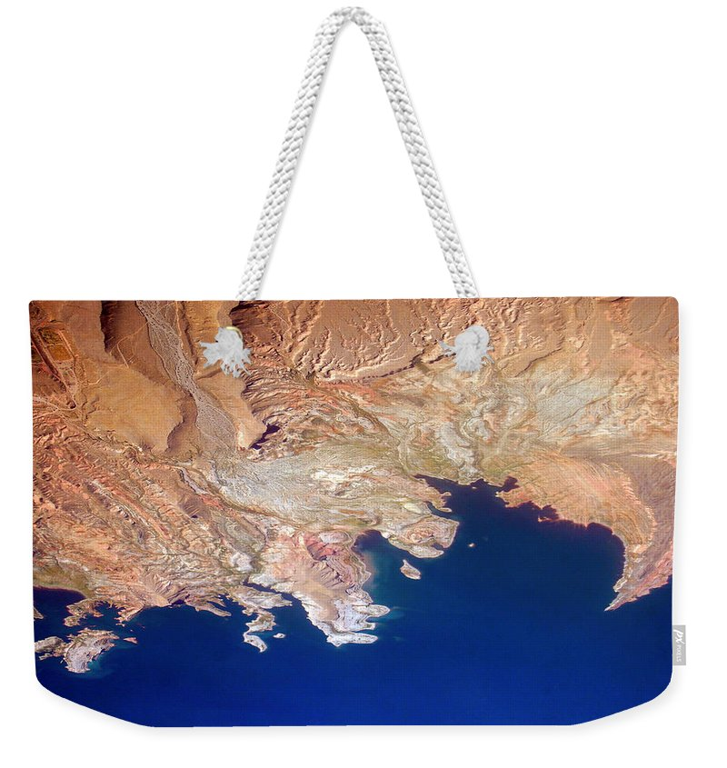Abstract Weekender Tote Bag featuring the photograph Shores Of Lake Mead Planet Art by James BO Insogna