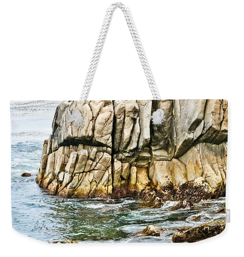 Pebble Beach Weekender Tote Bag featuring the photograph Shores Of Pebble Beach by Marilyn Hunt