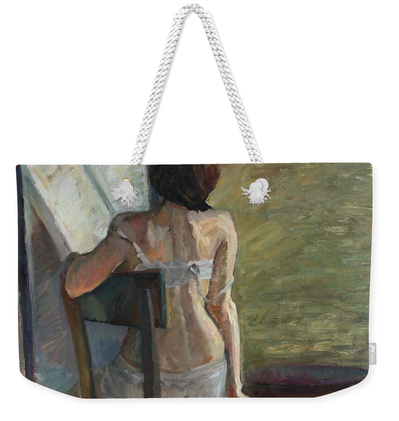 Nude Weekender Tote Bag featuring the painting Short Day by Juliya Zhukova