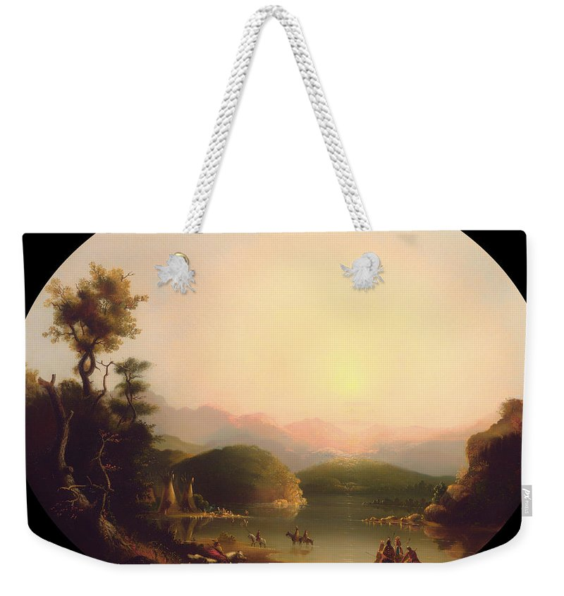 Painting Weekender Tote Bag featuring the painting Shoshone Indians At A Mountain Lake by Mountain Dreams