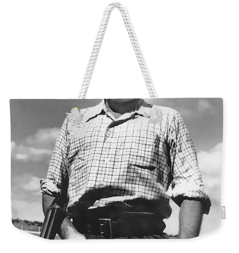 Ernest Hemingway Weekender Tote Bag featuring the digital art Shotgun Hemingway by Daniel Hagerman