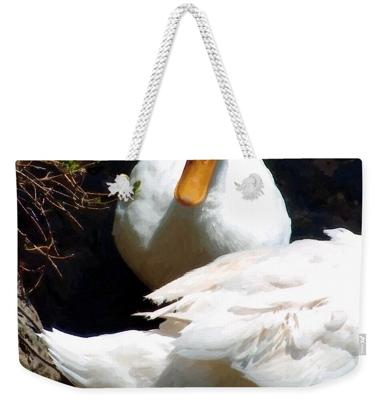 Duck Weekender Tote Bag featuring the painting Should I by RC DeWinter
