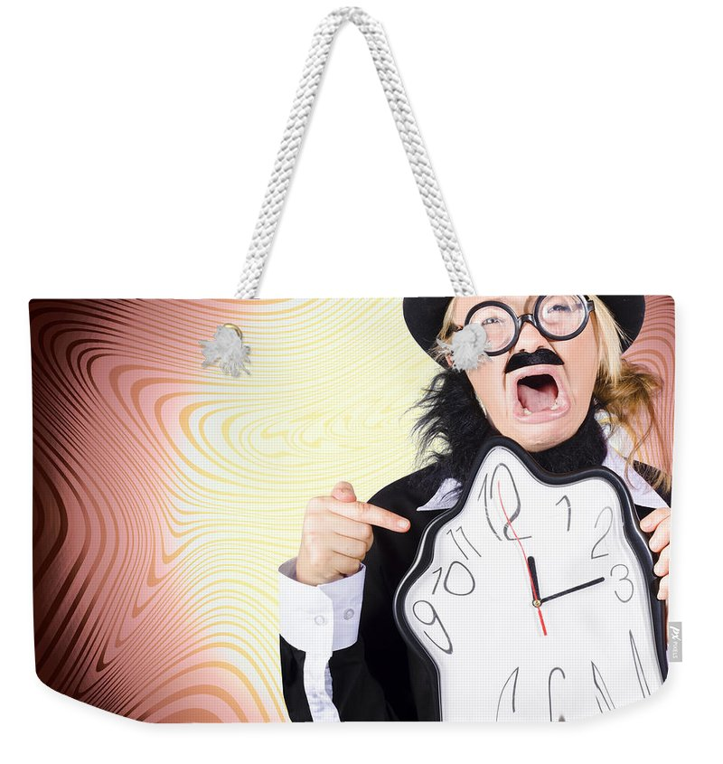 Authority Weekender Tote Bag featuring the photograph Shouting Businessman Stressed From Rush Hour by Jorgo Photography - Wall Art Gallery