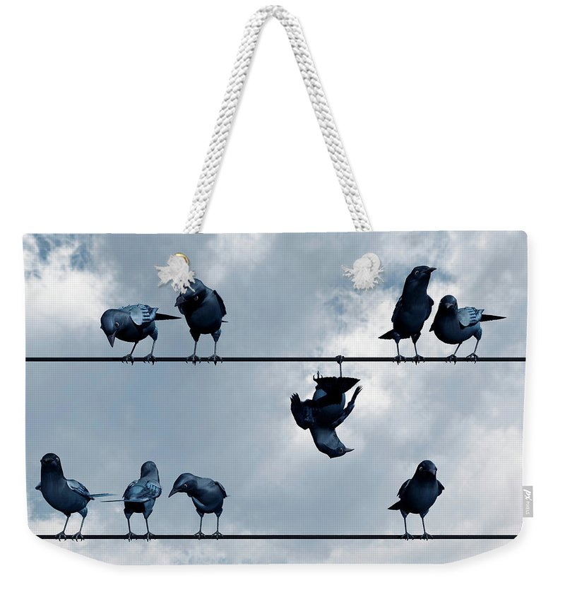 Crow Weekender Tote Bag featuring the digital art Show Off by Cynthia Decker