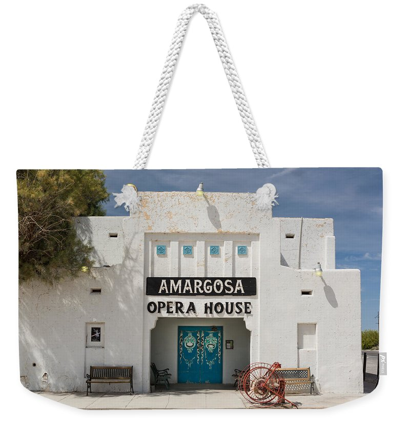 Amargosa Weekender Tote Bag featuring the photograph Show Tonight Amargosa Opera House by Steve Gadomski