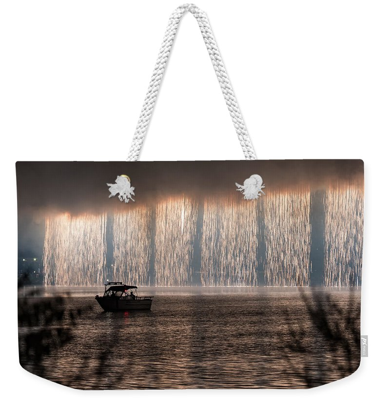 Fireworks Weekender Tote Bag featuring the photograph Shower Of Fireworks by Jan M Holden