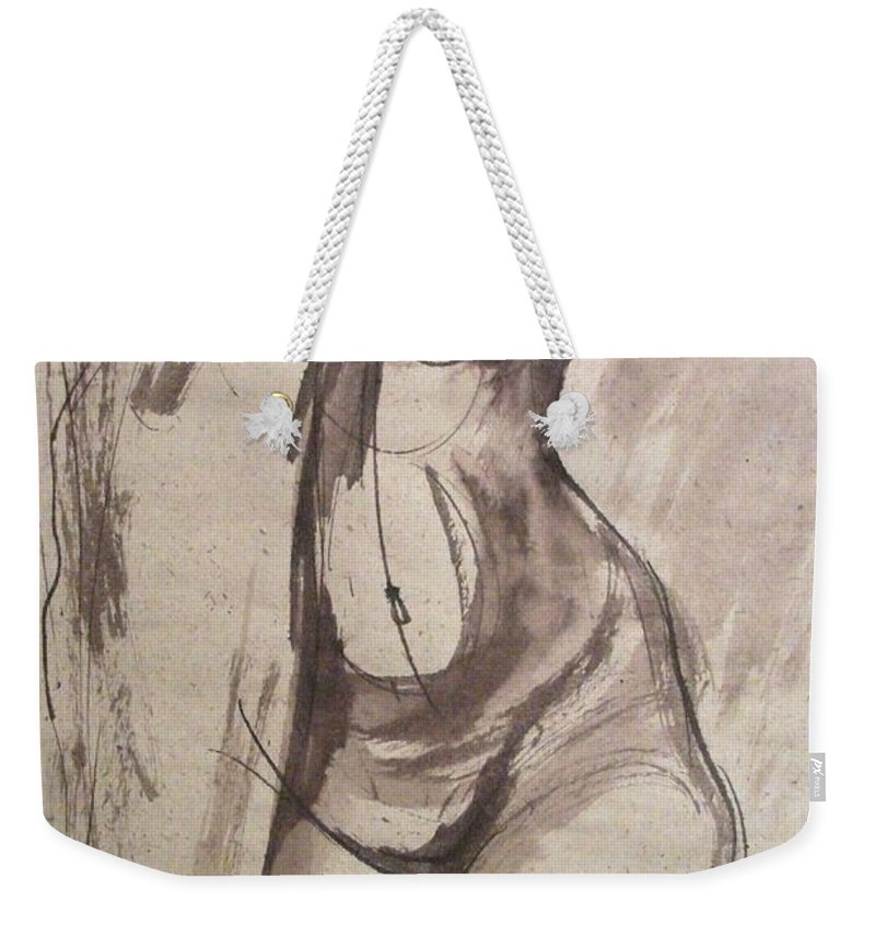 Showing Figure Weekender Tote Bag featuring the painting Showing Figure - Sketch Of A Female Nude by Carmen Tyrrell
