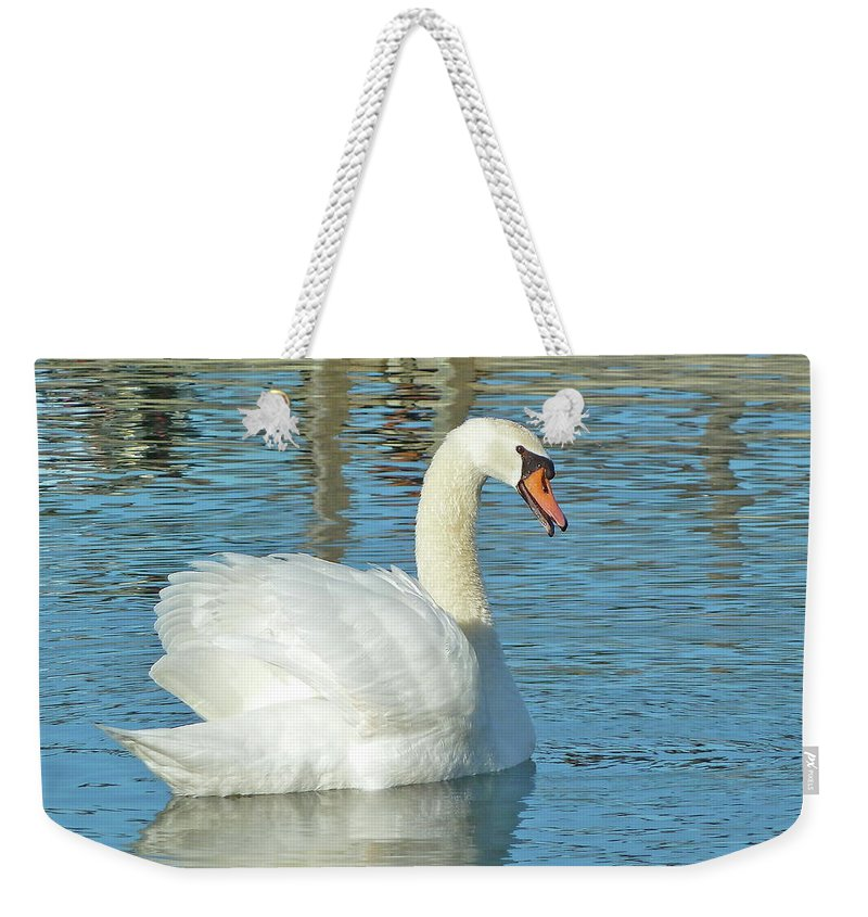 Swan Weekender Tote Bag featuring the photograph Showing Off by Diana Hatcher