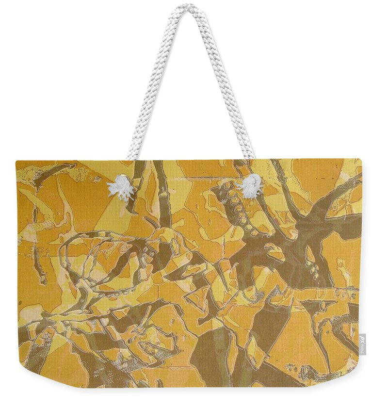 Abstract Weekender Tote Bag featuring the digital art Shredded Notebook Stencil by Ron Bissett
