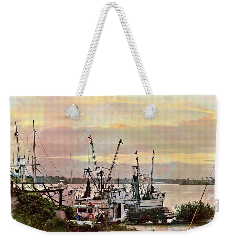 Weekender Tote Bag featuring the digital art Shrimp Boats Watercolor by Katheryn Batts