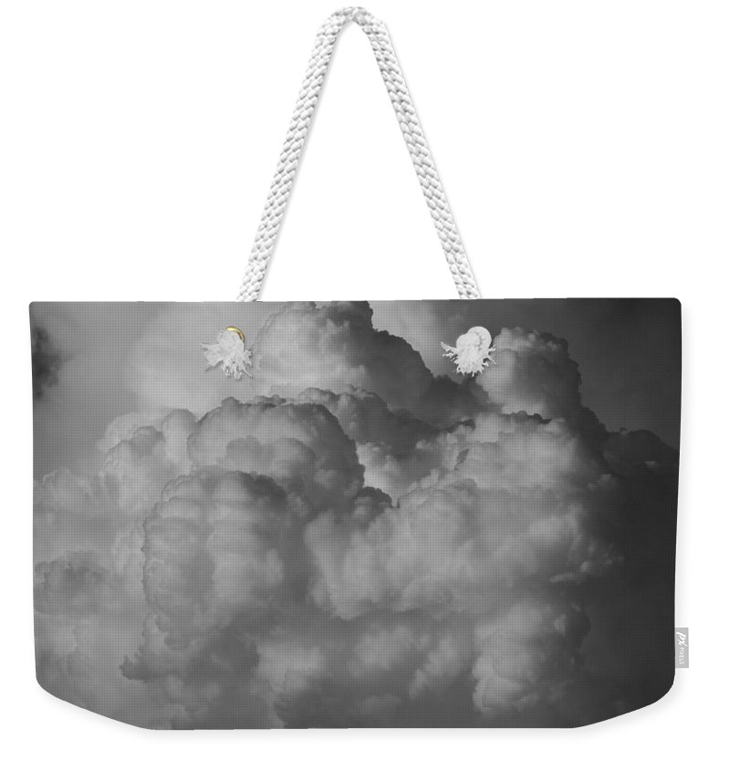 Black And White Weekender Tote Bag featuring the photograph Shrimp Clouds by Rob Hans