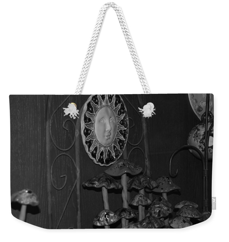Black And White Weekender Tote Bag featuring the photograph Shrooms And Sun by Rob Hans