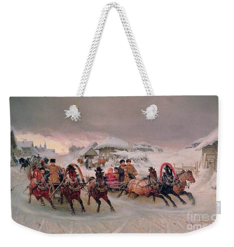 Bal194495 Weekender Tote Bag featuring the painting Shrovetide by Petr Nicolaevich Gruzinsky