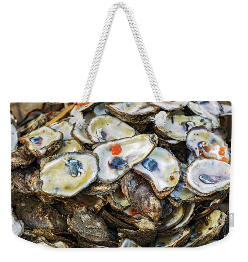 2d Weekender Tote Bag featuring the photograph Shucks by Brian Wallace