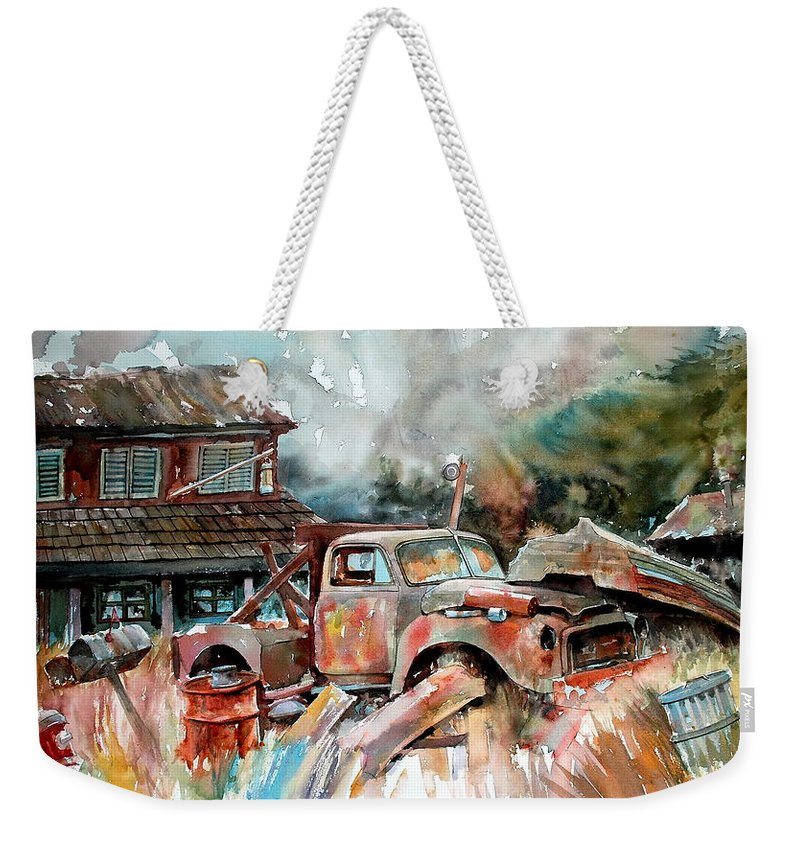Truck Weekender Tote Bag featuring the painting Shuttered And Cluttered And Gone by Ron Morrison