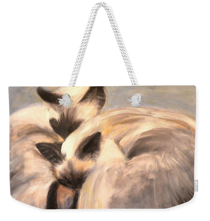 Cat Weekender Tote Bag featuring the painting Siamese Lovers by Susan A Becker