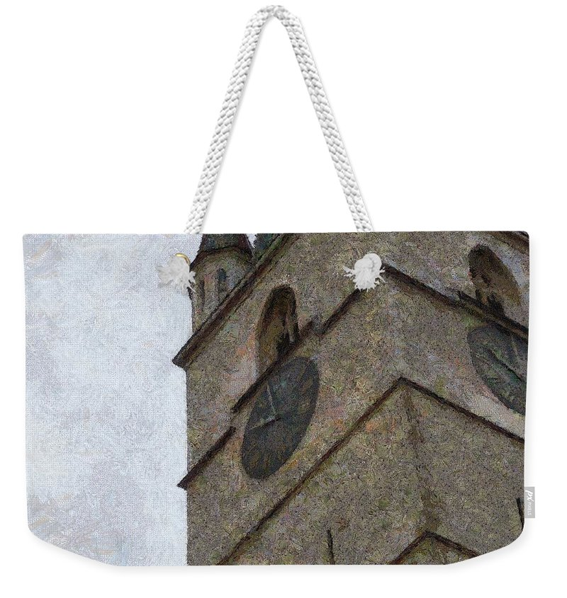 Sibiu Weekender Tote Bag featuring the painting Sibiu Clock Tower by Jeffrey Kolker