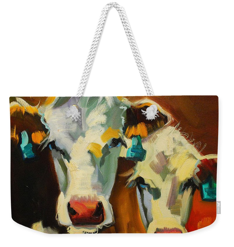 Cow Weekender Tote Bag featuring the painting Sibling Cows by Diane Whitehead