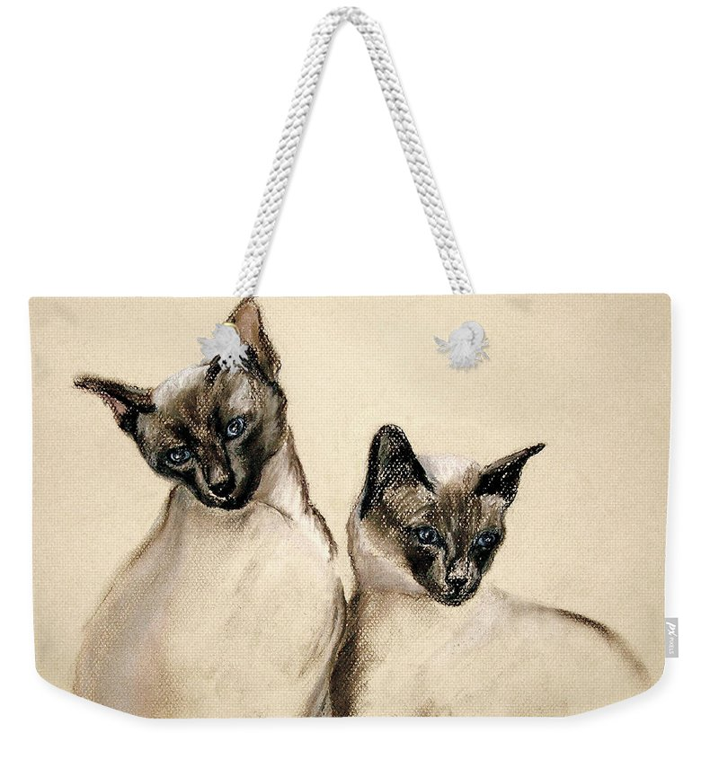 Cat Weekender Tote Bag featuring the drawing Sibling Love by Cori Solomon