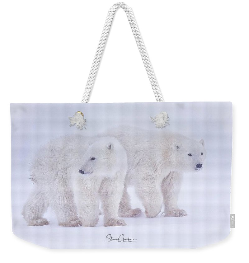 Polar Bear Weekender Tote Bag featuring the photograph Siblings by Steven Clevidence