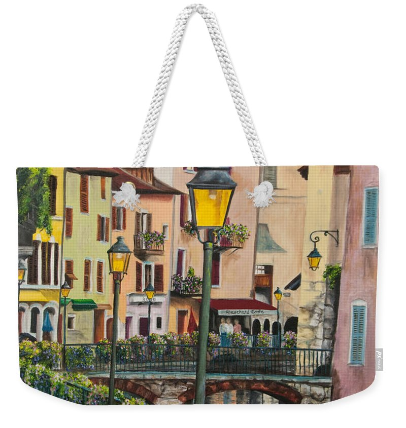 Annecy France Art Weekender Tote Bag featuring the painting Side Streets In Annecy by Charlotte Blanchard
