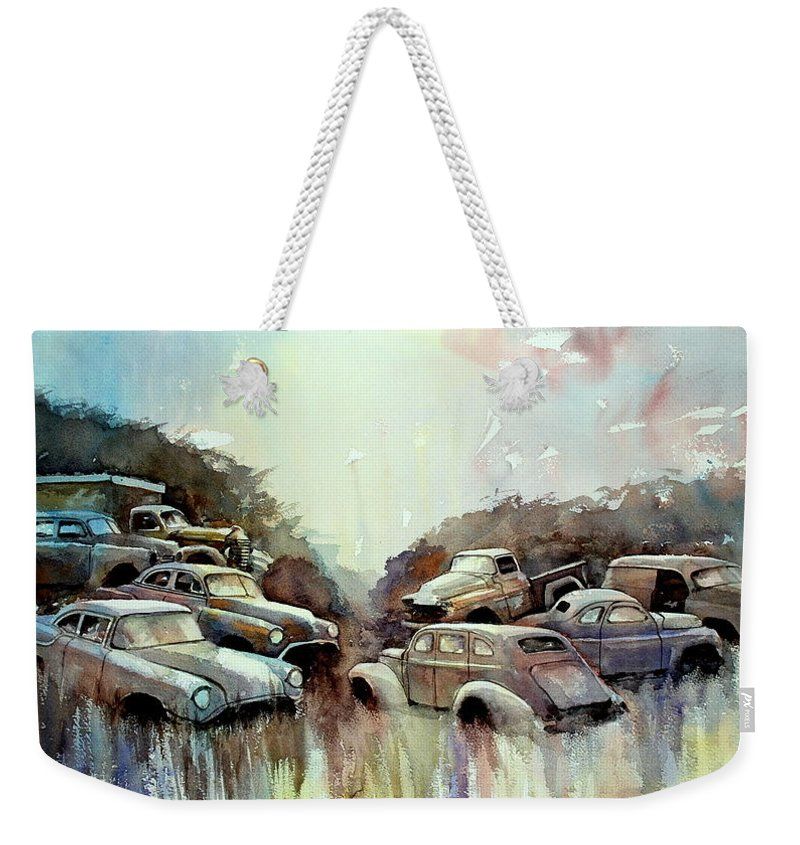 Cars             Trucks Weekender Tote Bag featuring the painting Sidehill Retirees by Ron Morrison