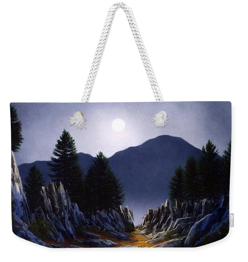Mountains Weekender Tote Bag featuring the painting Sierra Moonrise by Frank Wilson