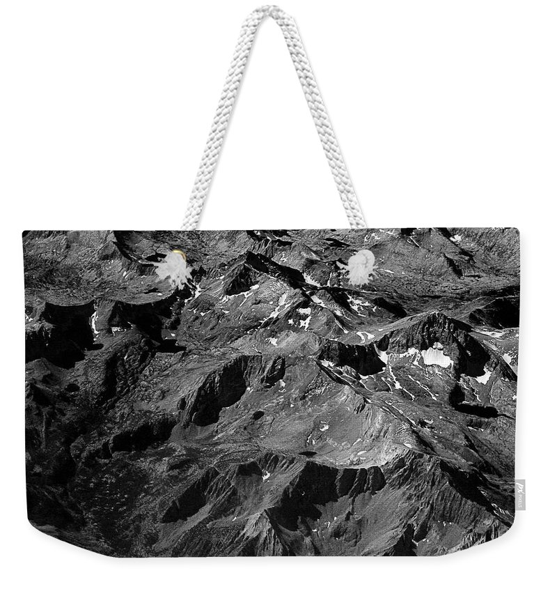 Sierra Nevada Weekender Tote Bag featuring the photograph Sierra Nevada's Planer Earth Bw by James BO Insogna