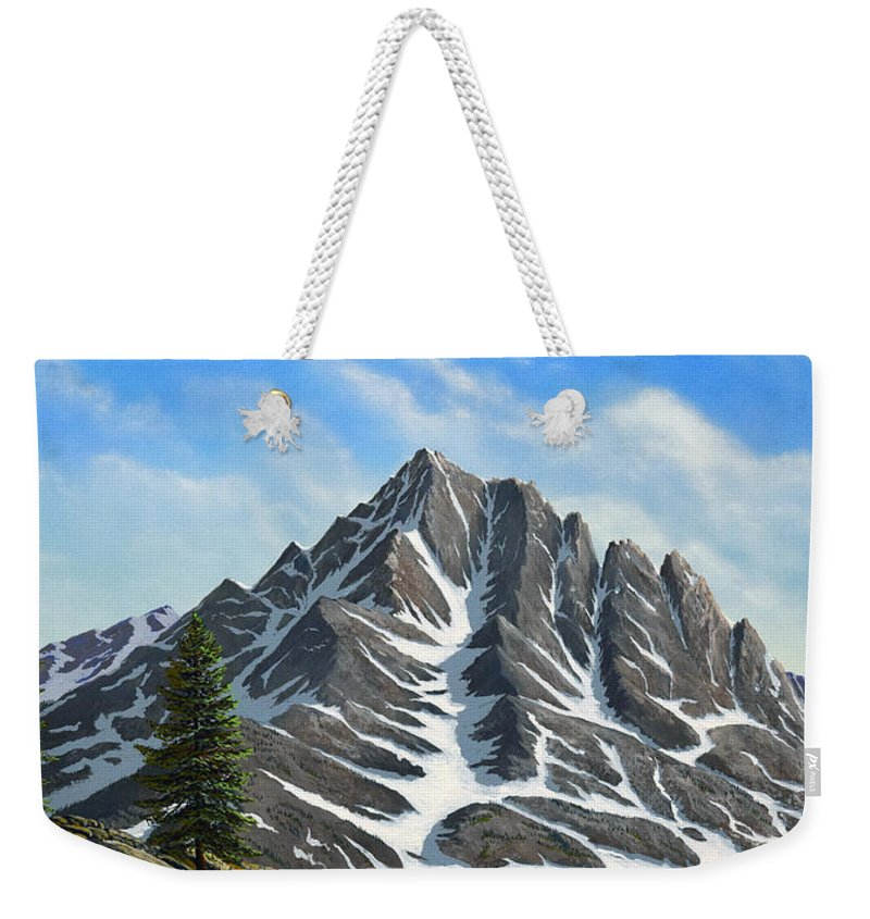 Mountains Weekender Tote Bag featuring the painting Sierra Peaks by Frank Wilson