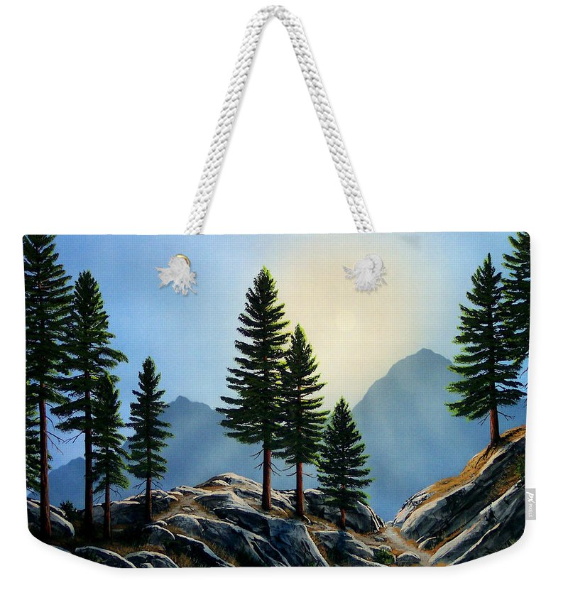 Landscape Weekender Tote Bag featuring the painting Sierra Sentinals by Frank Wilson