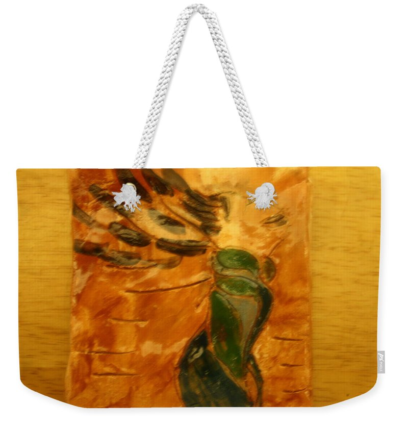 Jesus Weekender Tote Bag featuring the ceramic art Sigh - Tile by Gloria Ssali