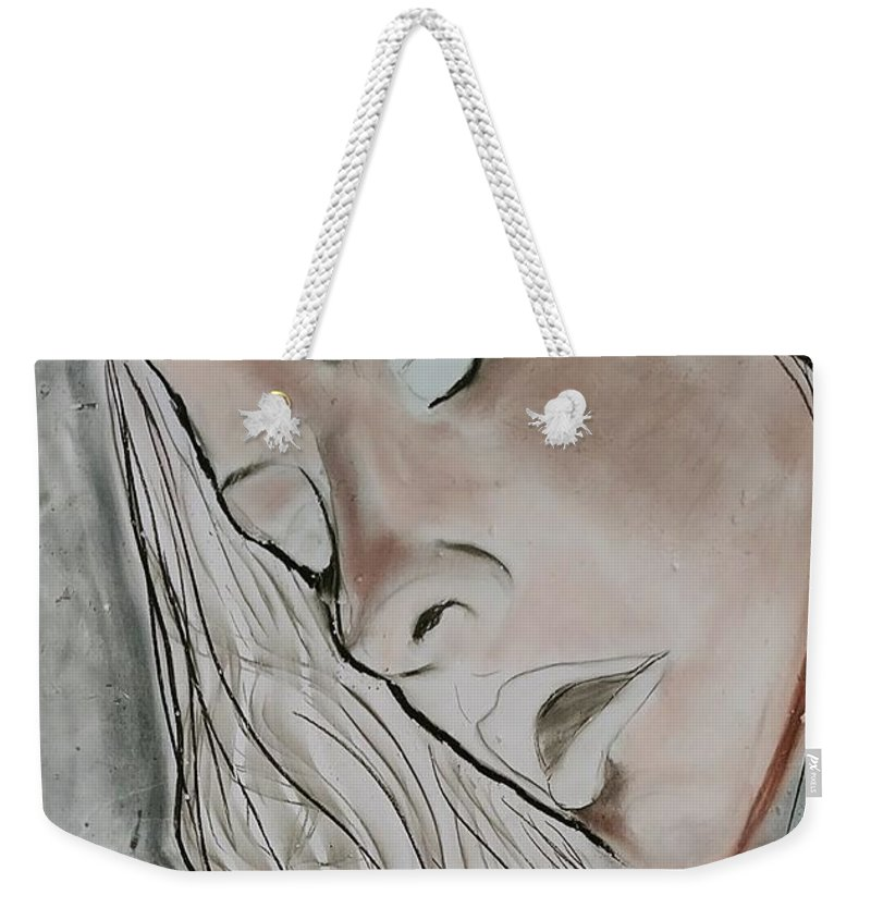 Beauty Weekender Tote Bag featuring the drawing Sigh by J Bauer