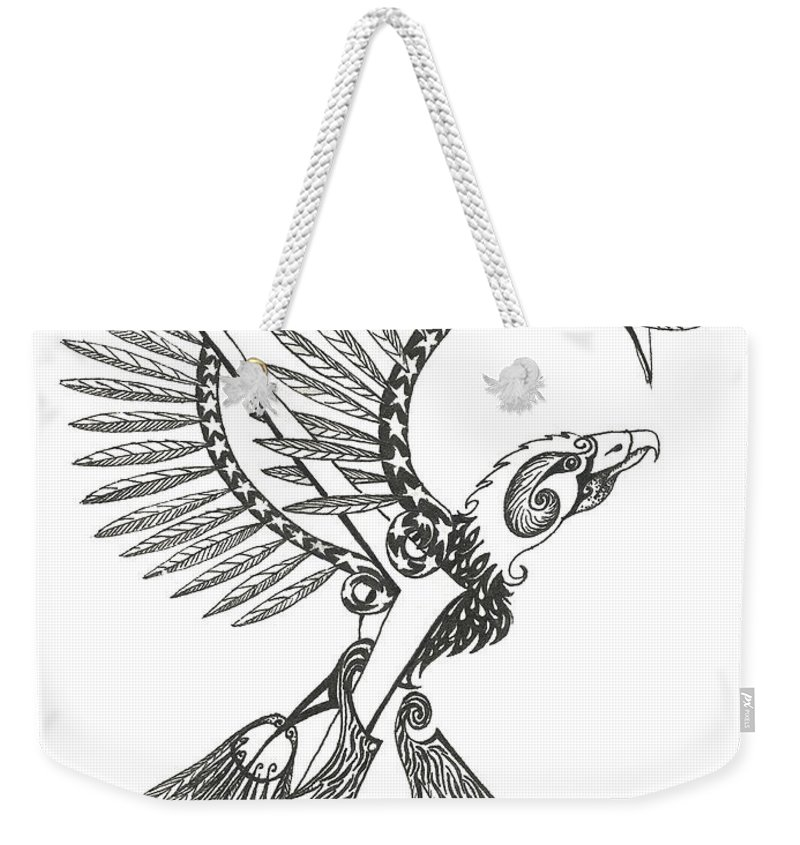 Sigma Weekender Tote Bag featuring the drawing Sigma Eagle by Melinda Dare Benfield