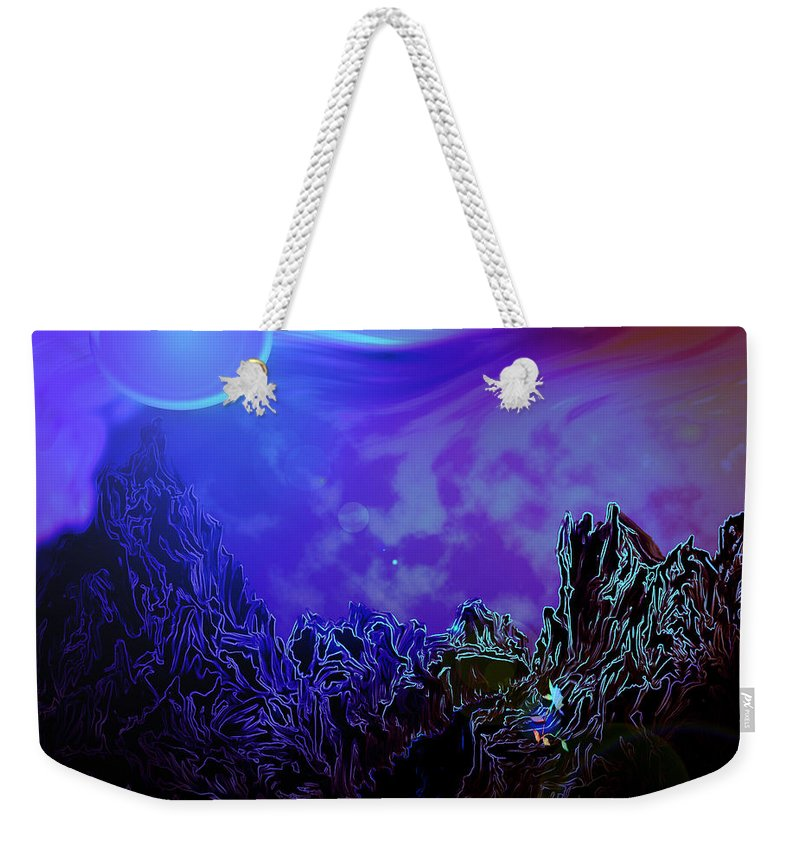 Mountain Moon Flower River Water Planet Sky Life Wild Color Colours Alien Weekender Tote Bag featuring the digital art Sign Of Life by Andrea Lawrence