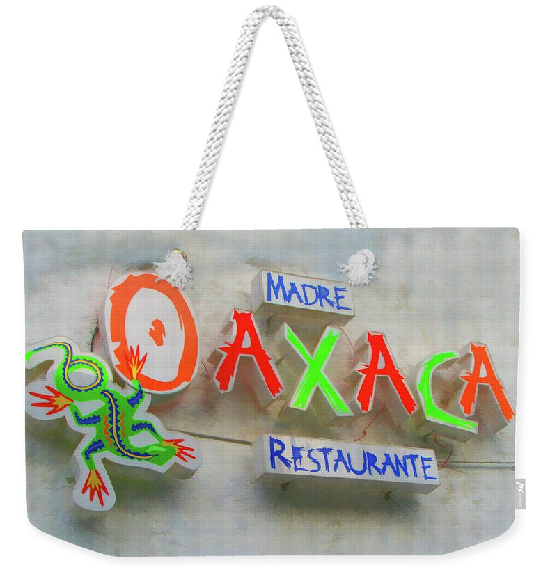 Monterrey Weekender Tote Bag featuring the photograph Sign Of Madre Oaxacan Restaurant by Art Spectrum