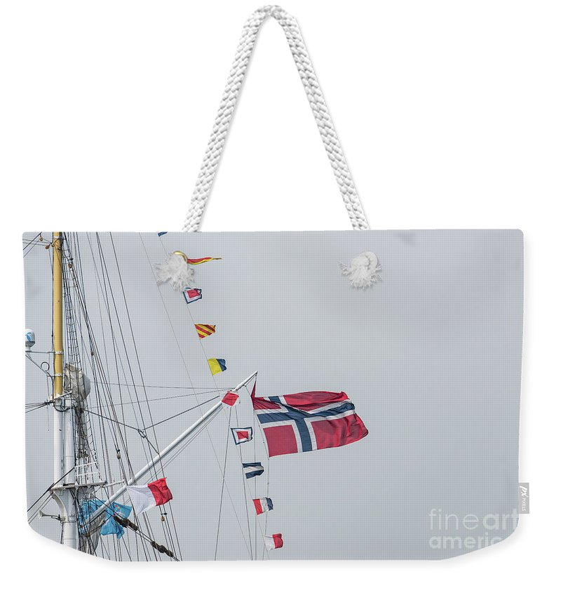 Ship Weekender Tote Bag featuring the photograph Signal Flags by Alex Hiemstra