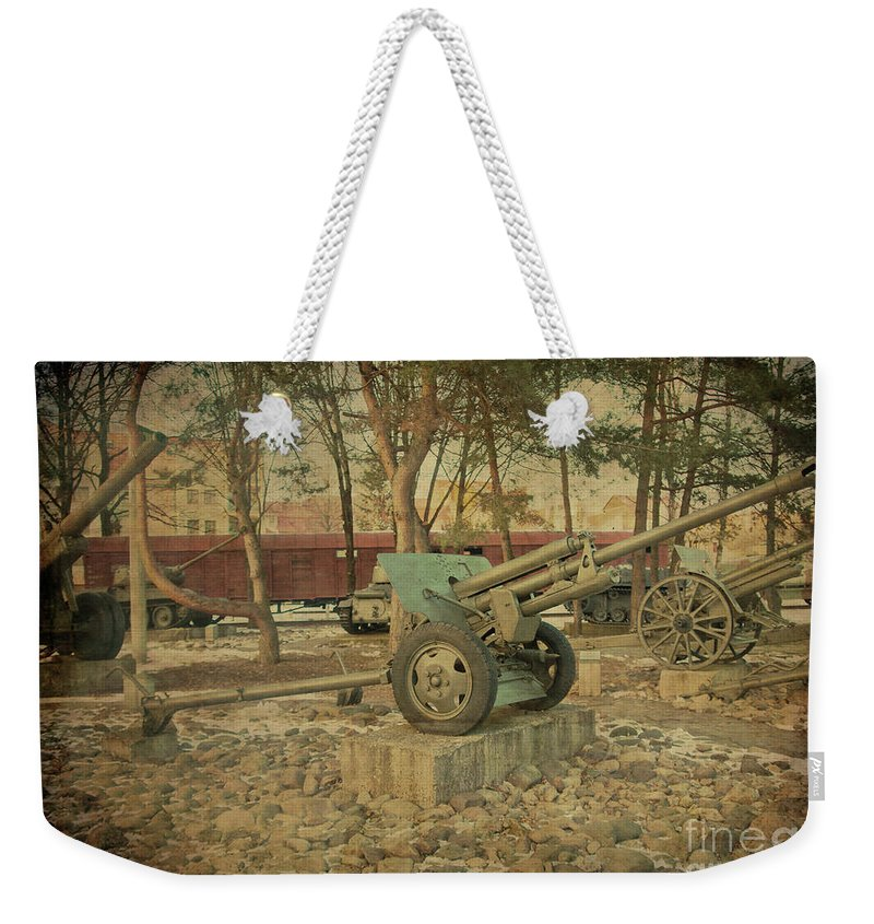 Tank Weekender Tote Bag featuring the photograph Signature Of War  by Alex Art and Photo