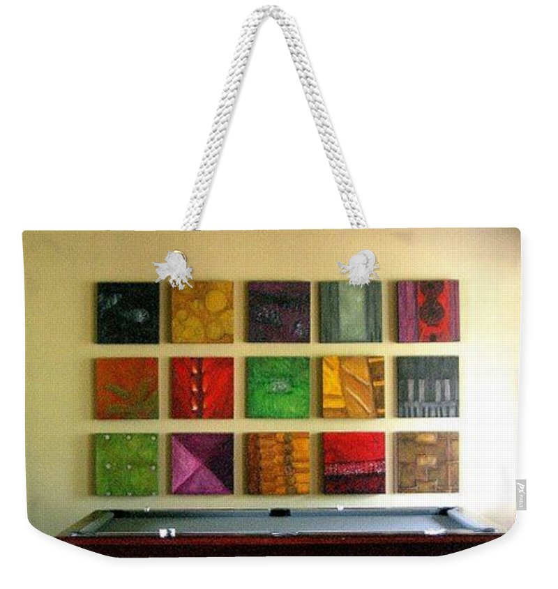 Family Weekender Tote Bag featuring the mixed media Signature Set by Marlene Burns