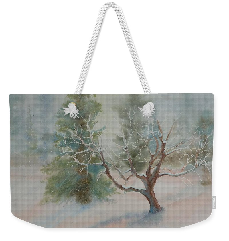 Snow Weekender Tote Bag featuring the painting Silence by Ruth Kamenev