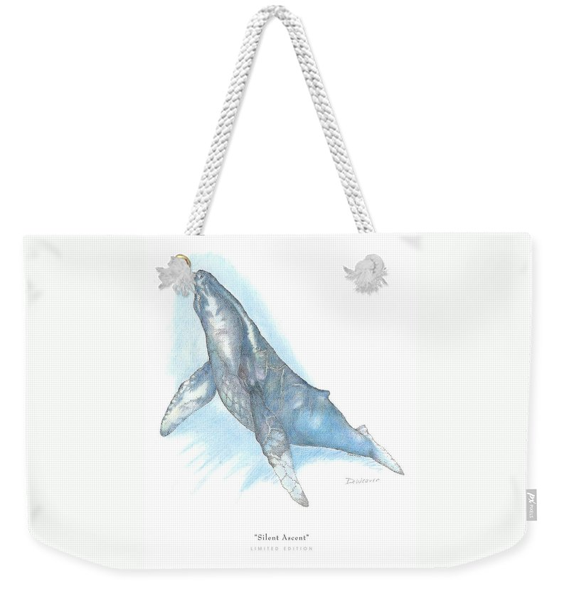 Whale Beneath Surface Weekender Tote Bag featuring the drawing Silent Ascent by David Weaver
