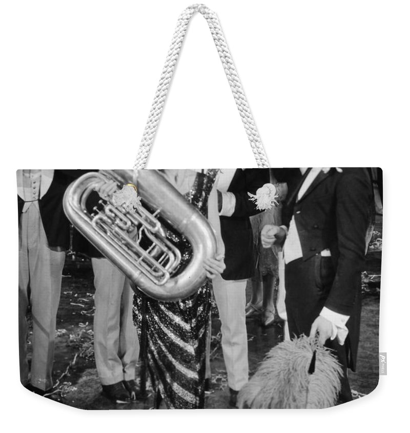 -music- Weekender Tote Bag featuring the photograph Silent Film Still: Music by Granger