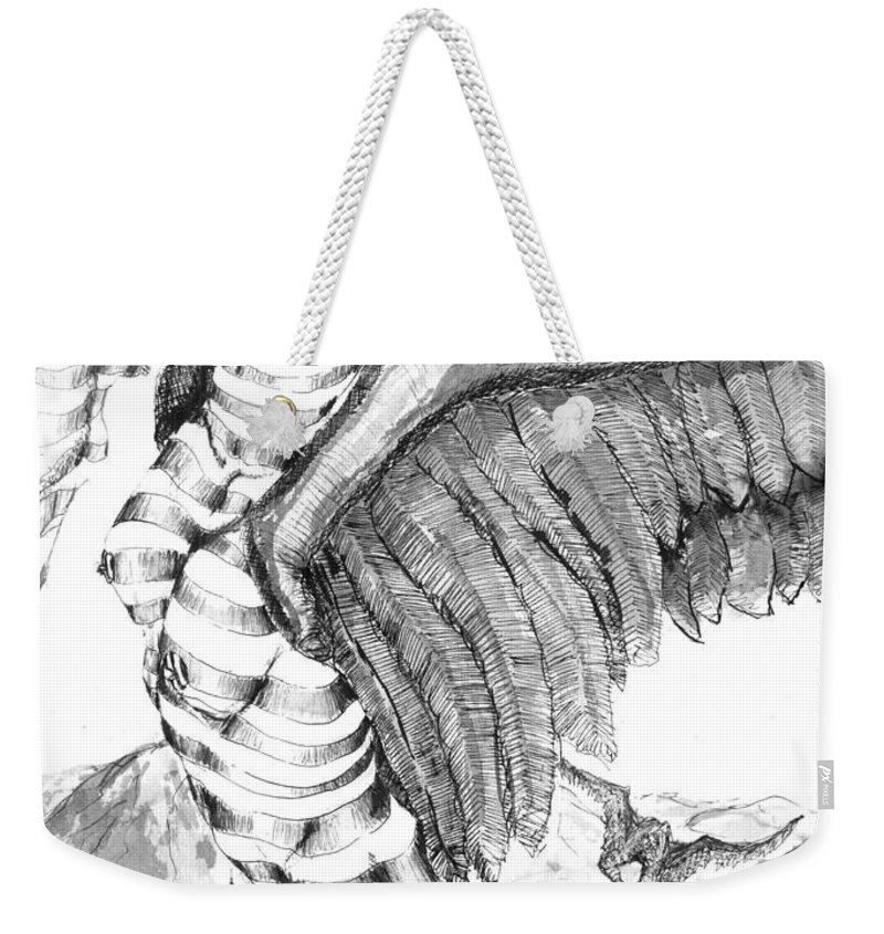 Surreal Weekender Tote Bag featuring the drawing Silent Flight by Ron Bissett