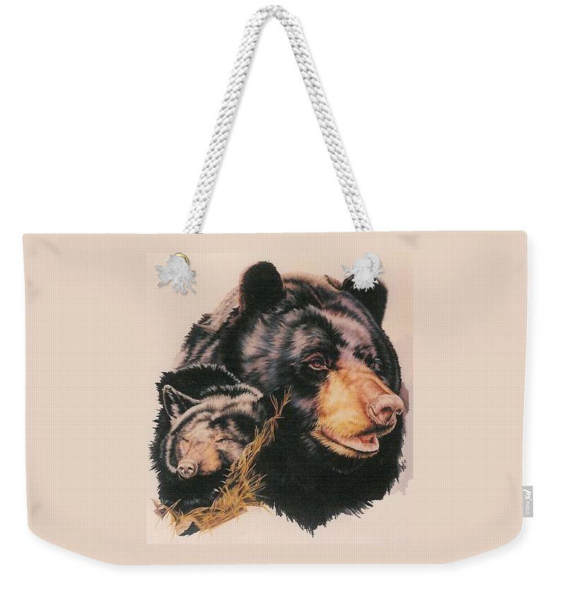 Bear Weekender Tote Bag featuring the drawing Silent Majesty by Barbara Keith