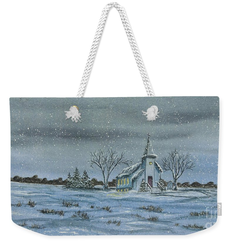 Winter Scene Paintings Weekender Tote Bag featuring the painting Silent Night by Charlotte Blanchard