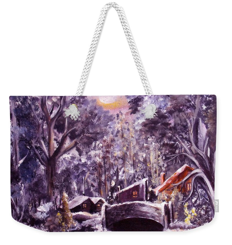 Landscape Weekender Tote Bag featuring the painting Silent Night by Ruth Palmer