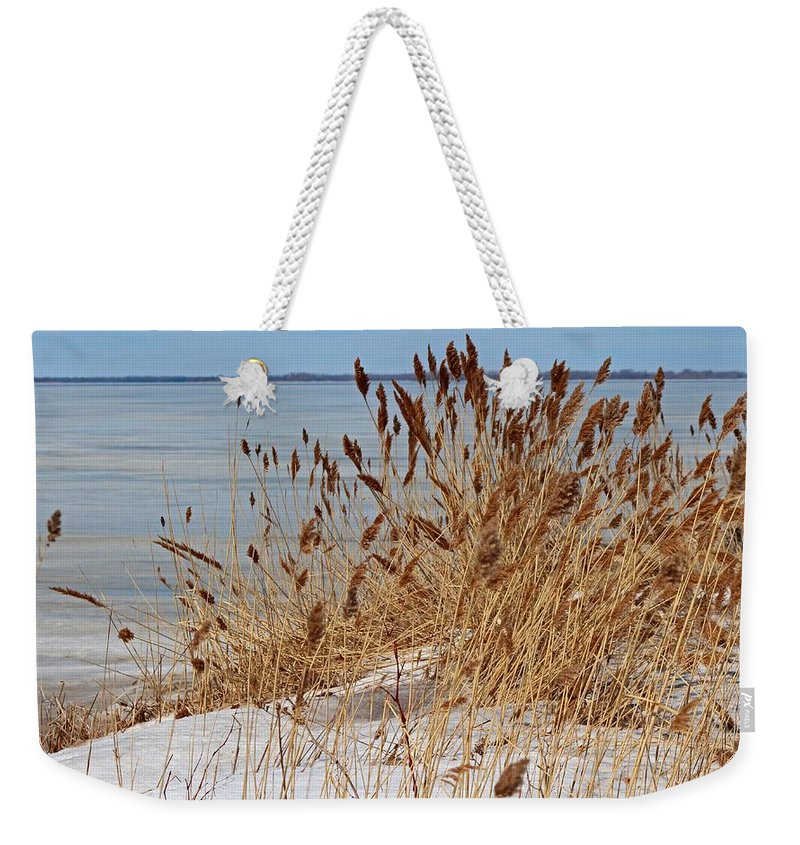 Frozen Weekender Tote Bag featuring the photograph Silent Prisoner by Michiale Schneider