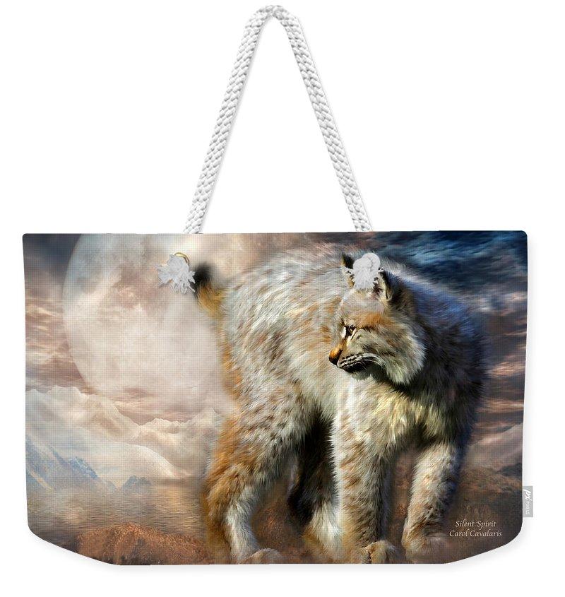 Lynx Weekender Tote Bag featuring the mixed media Silent Spirit by Carol Cavalaris
