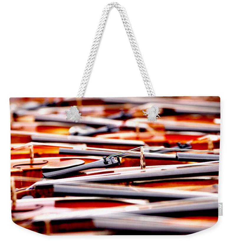 Violins Weekender Tote Bag featuring the photograph Too Much Violins In Film by Greg Fortier